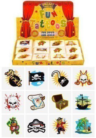 6 packs de 12 tatuajes estilo pirata temporales para niño o niña para cotillón piñata 72 en total: Amazon.es: Juguetes y juegos