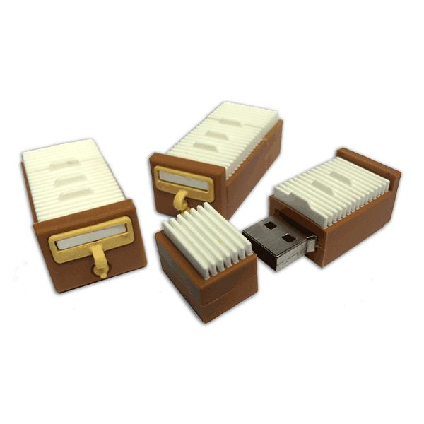 USB drives in the shape of a card catalog drawer. These 8GB drives are available empty (save by ordering our handy 3, 6, or 12-packs), or preloaded with a set of the first 11 Unshelved collections in DRM-free EPUB format.