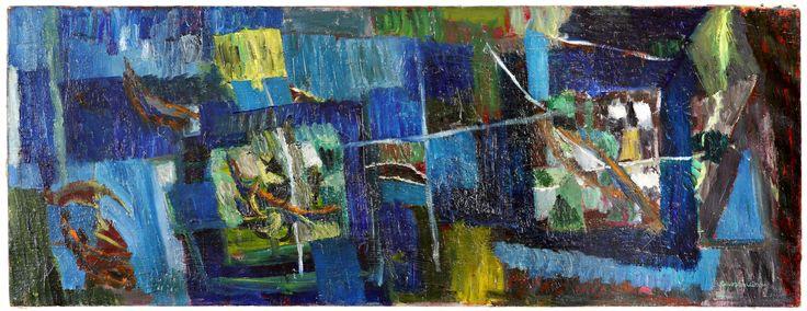 """Oltre i confini reali delle cose... #BrunoCassinari, Senza Titolo, 1958, olio su tela, cm. 40x105. Opera esposta nella mostra """"Ordine e disordine"""", fino al 19 aprile 2015 in galleria."""