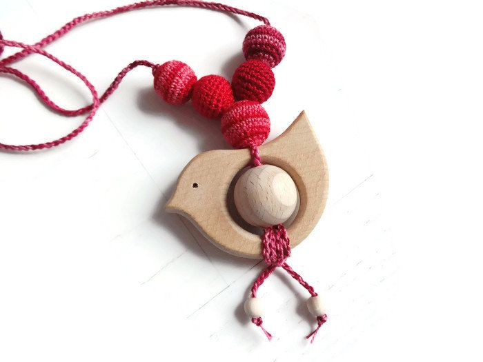 Birdie teething necklace / Wooden teether / Crochet baby teething toy / Cotton & Wood / Ready to ship by InasToysLV on Etsy