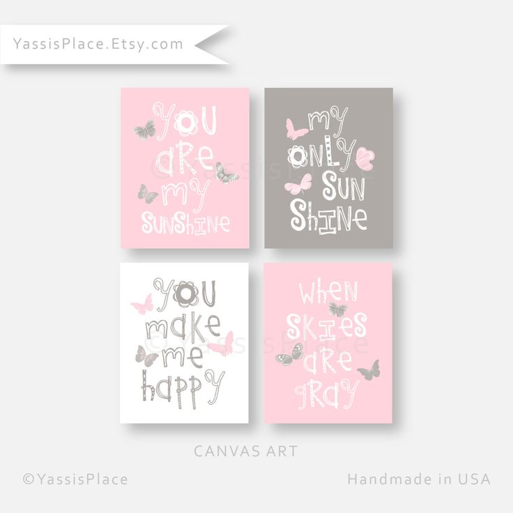 Girl Nursery Decor, Pink CANVAS Art, Butterfly wall art, You Are My Sunshine, Playroom decor, nursery, baby gift, YassisPlace (GSBPG -03)