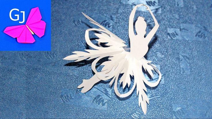 Снежинка балеринка из бумаги. Красивая балеринка