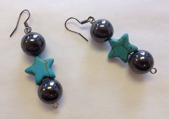 Turquoise Star Earrings Hematite Jewelry by StarBoundWestern