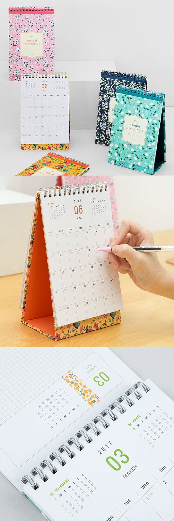 "Add beauty and functionality to your office with the 2017 Ardium Small Desk Calendar dressed in bold floral designs. It makes it easy to see each month at a glance and even has an ""Out of Office"" sign! Who knew upgrading your office decor was this easy? ^.~*"