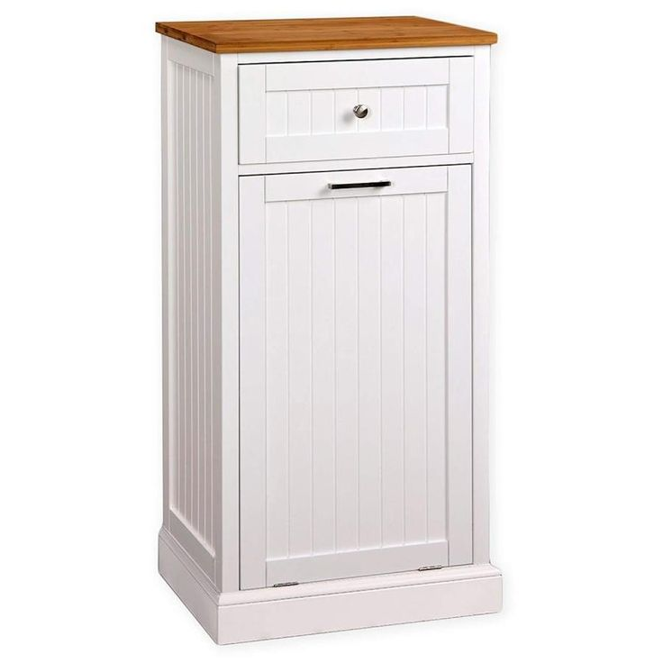 23 3 In W Microwave Kitchen Cart With Hideaway Trash Can Holder In White Cmc 800 The Home Depot Kitchen Cart Can Holders White Kitchen Cart