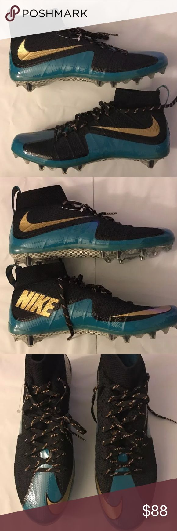 New Nike Untouchable Vapor Flyknit Cleats Size 15 New without box, never worn.  Jaguar colors (teal, gold, black) Size 15 Some of the best Cleats out! Nike Shoes Athletic Shoes