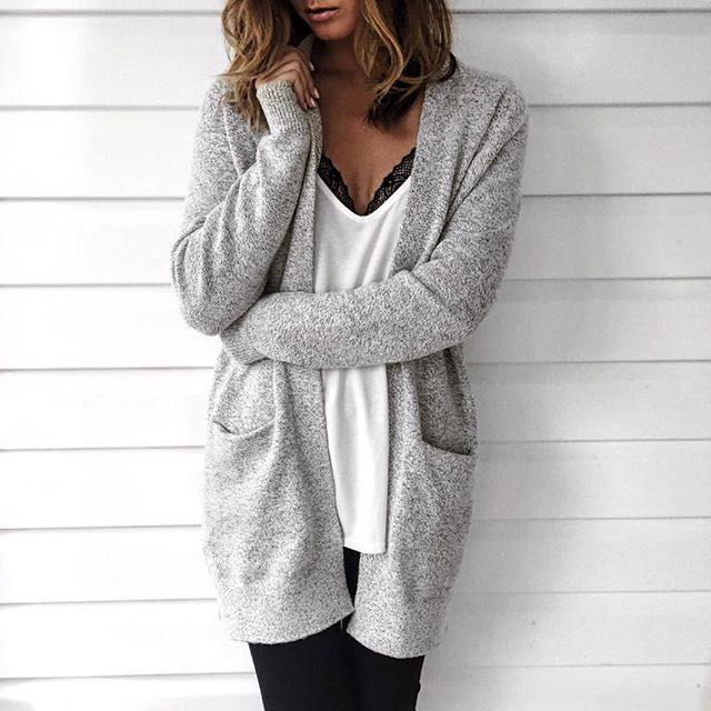 Grey cardigan + White top + Black leggings
