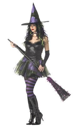 #01045 Fly around on a broom stick this Halloween as the Wicked Witch. The Wicked Witch Costume includes a black tutu styled dress with attached petticoat and lacey embellishment. Black glovettes and