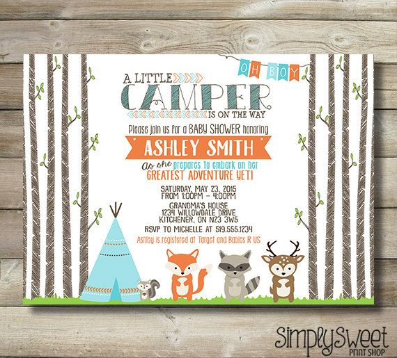 Little Camper Baby Shower Invitation by SimplySweetPrintShop