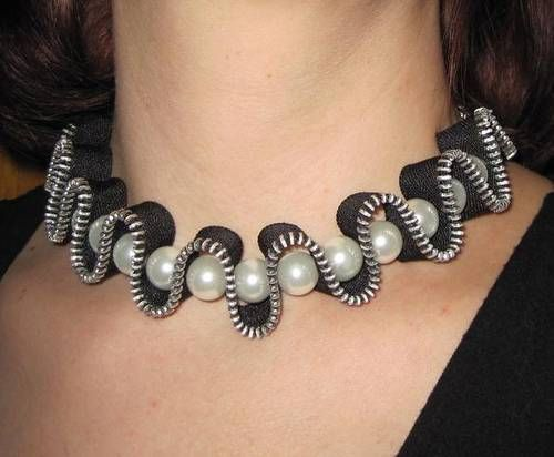 Zipper and pearl necklace – #Pearl necklace #Re …