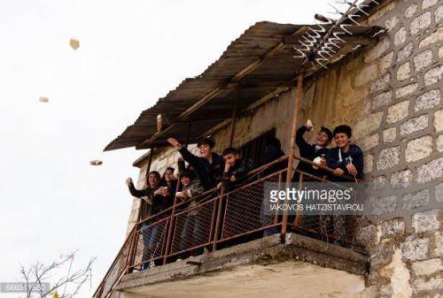 04-15 Children throw fake stones at a Greek Orthodox Cypriot man... #kathikas: 04-15 Children throw fake stones at a Greek… #kathikas