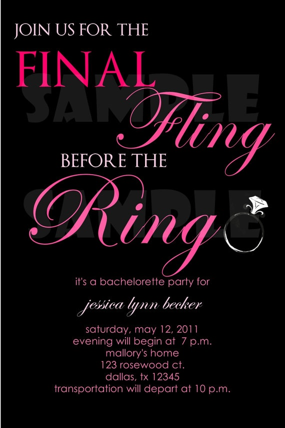 Final Fling Bachelorette Party Invitation by LoveNotePrints, $1.00.. hint hint @Natalie Davis tell your sis :)