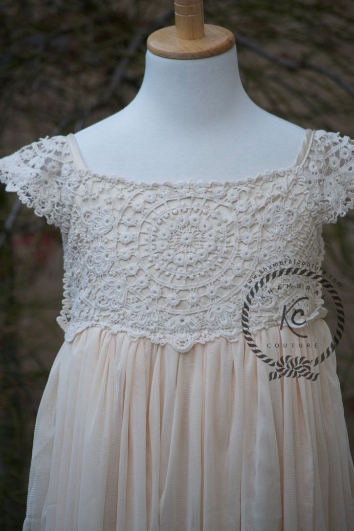 Beige Tan Crochet Lace Flower Girl Dress Boho Lace Dress This dress has beautiful crochet detail on top. Skirt of the dress has multiple layers of Tulle. Dress is lined with satin material. Back of th