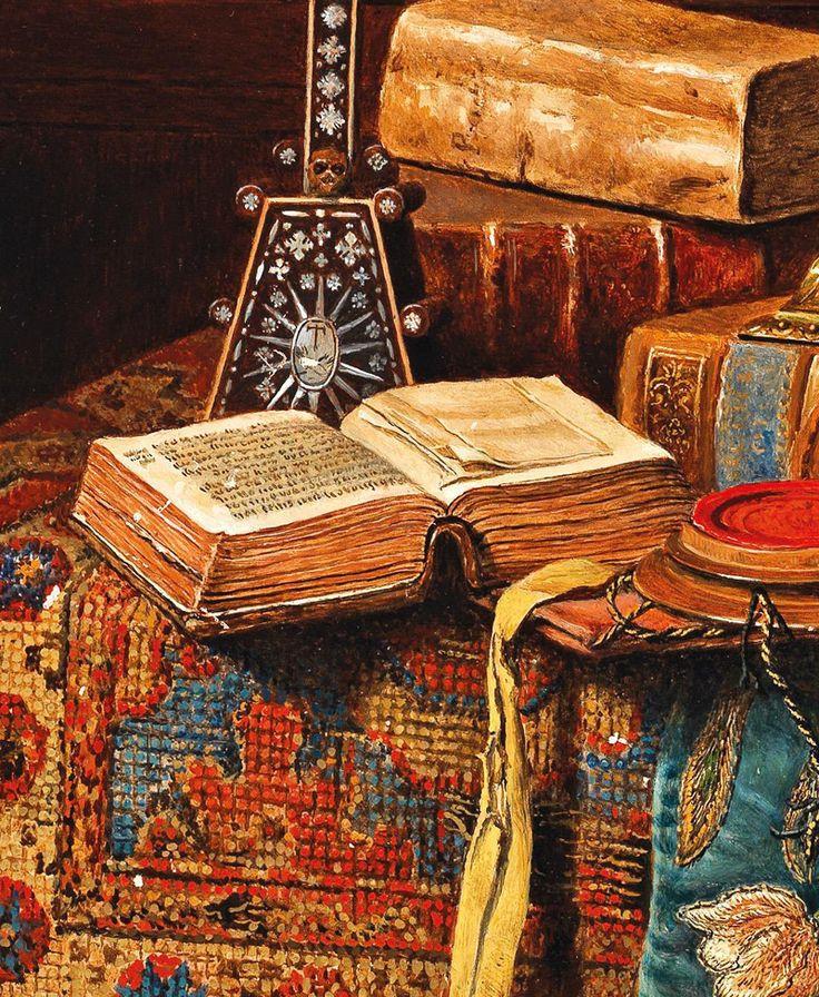 Max Schödl. Detail from Still Life with Antiques, 1896.   http://40.media.tumblr.com/57deb209929e8cb9a80988bd1e8916ba/tumblr_o38jjcYciE1qa2wieo1_1280.jpg
