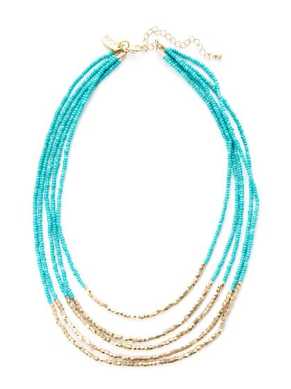 Gold & Blue Bead Multi-Strand Necklace by Cara Couture Jewelry on Gilt