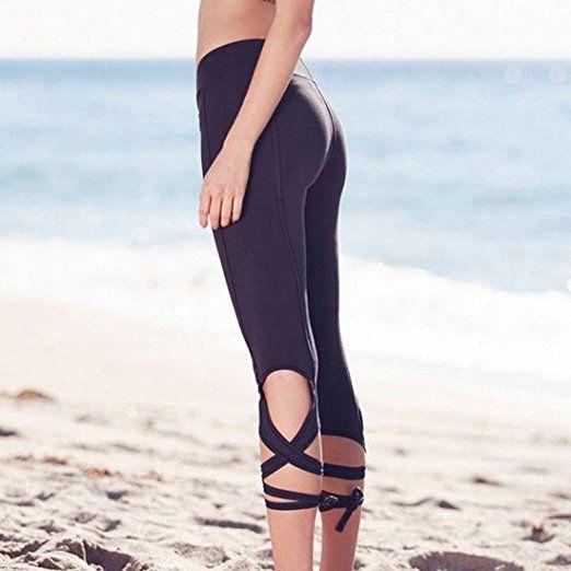 Vertvie Femme Lace Up Leggings de sport Pantalons Recadré Capri Collant  Extensible Casual pour Gym Fitness