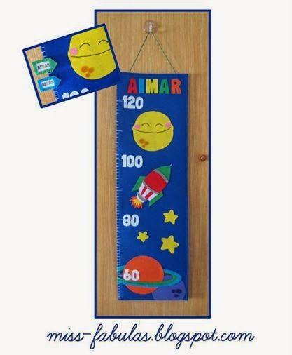 Medidor cohete especial hecho a mano en fieltro - Space rocketl kids meter Handmade Felt