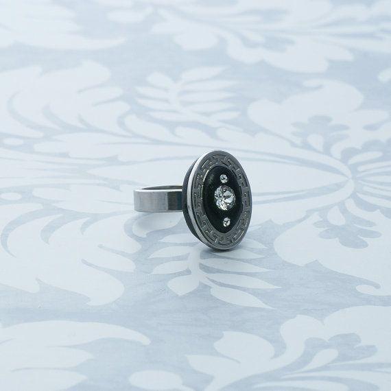 Cocktail ring stainless steel ring swarovski by BijouxSandra