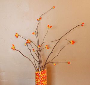 15 Clever Candy Corn Halloween Recipes and Crafts: Candy Corn Branches
