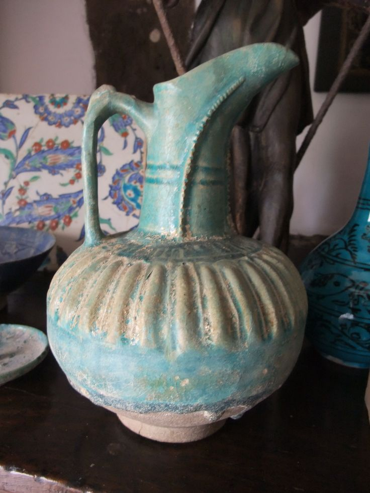 Fritware Pottery Jug - possibly from Nishapur in North-East Iran. Bought by Tony at auction in The Netherlands to mark the birth of their daughter in 1989.