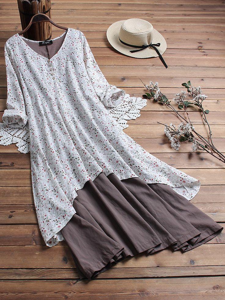 Vintage Floral Print Patchwork Long Sleeve Dress with Pockets