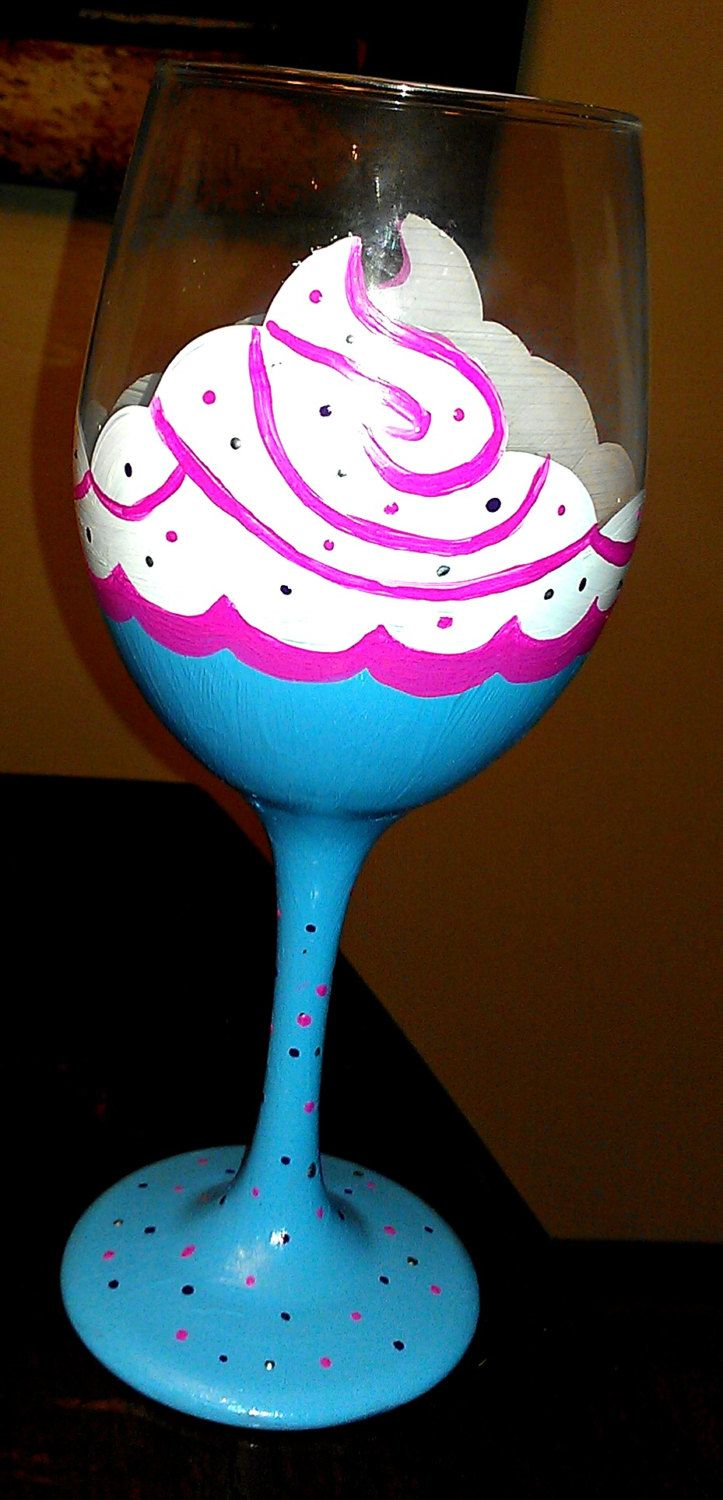 Cupcake hand painted birthday wine glass.
