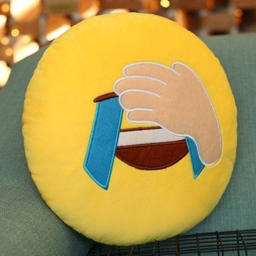 [€1.69] Facepalm Face Creative Emoji Throw Pillow Back Pillow, Size: About 28cm x 28cm