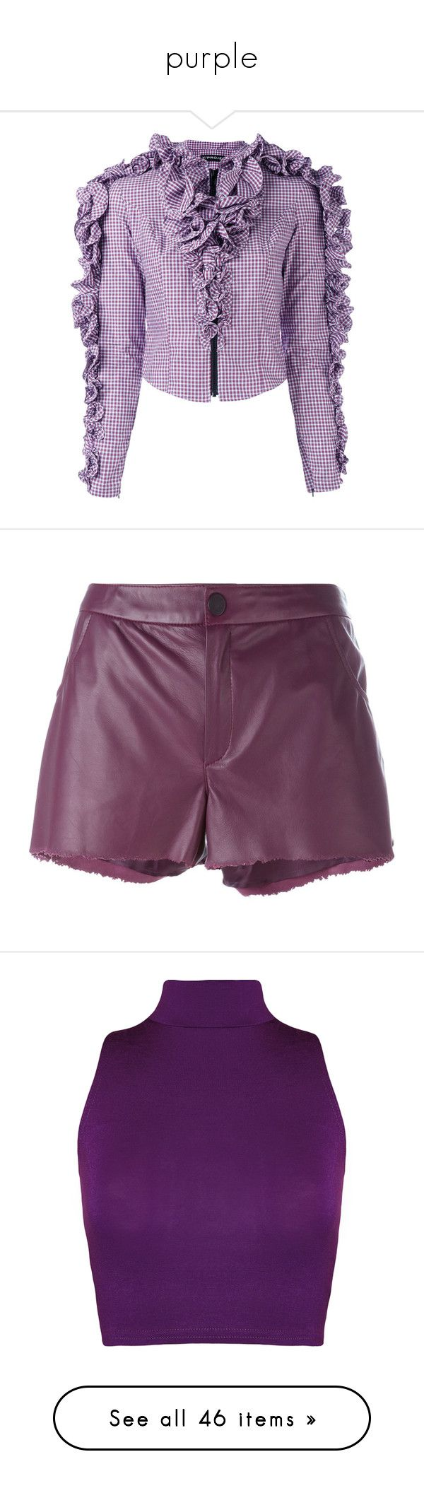 """""""purple"""" by nyraul ❤ liked on Polyvore featuring tops, blouses, purple crop top, flounce blouse, cotton blouse, cotton crop top, flounce top, shorts, purple shorts and drome"""