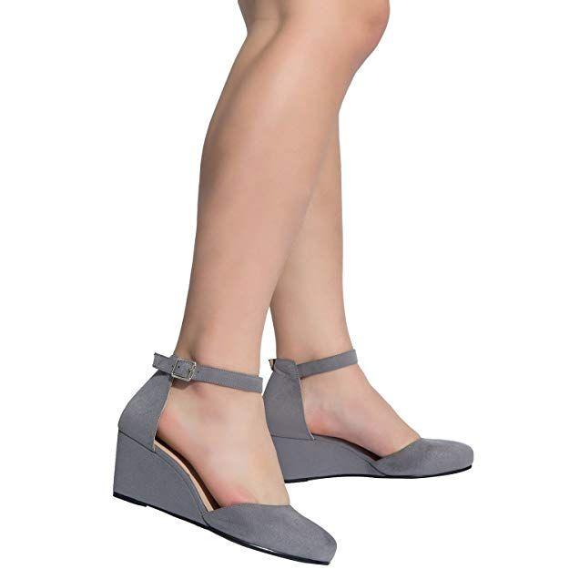 4c4b5dc3c9a9e Amazon.com | Luoika Women's Wide Width Mini Wedges - Comfortable Mid ...