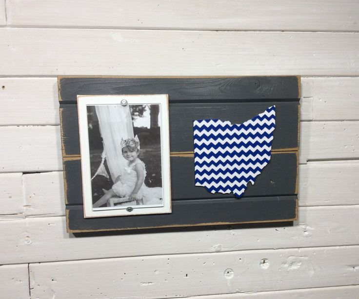 """Ohio chevron picture frame holds 4""""x6"""" photo CUSTOMIZABLE by KDCobbleShop on Etsy https://www.etsy.com/listing/238838551/ohio-chevron-picture-frame-holds-4x6"""