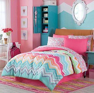 Happy Chevron Full Comforter, Shams, Sheets & Bedskirt (8 Piece Complete Bed in a Bag) -   - http://homesegment.com/home-kitchen/happy-chevron-full-comforter-shams-sheets-bedskirt-8-piece-complete-bed-in-a-bag-com/