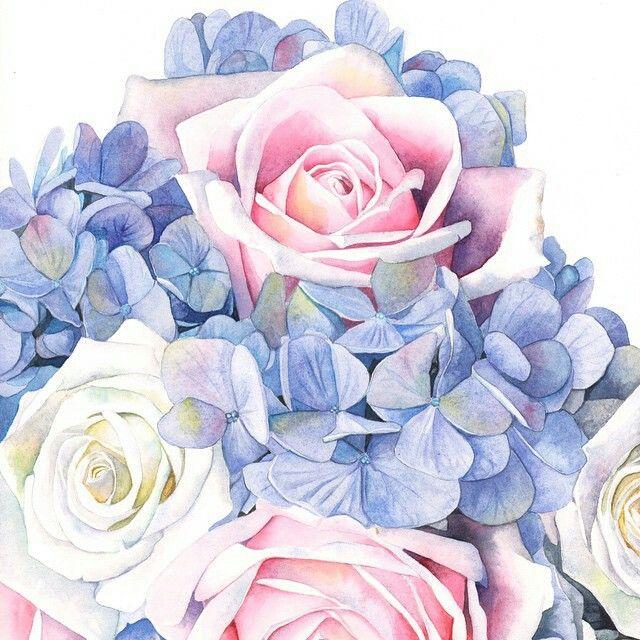 Цветы акварель на открытку, красивая