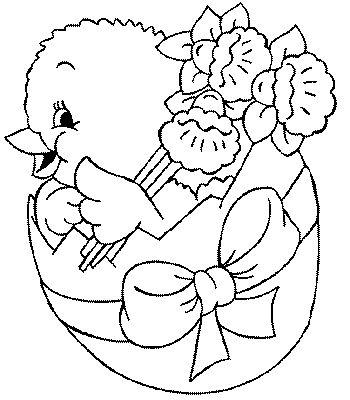 Pâques poussin et les fleurs