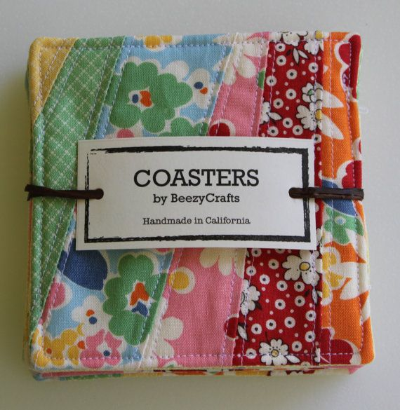 Love the way she package it ... Lovely gift. Quilted Coaster Set of 6 Items C105 and C106 by beezycrafts, $15.00