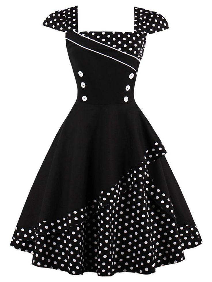 Buttoned Polka Dot Vintage Dress