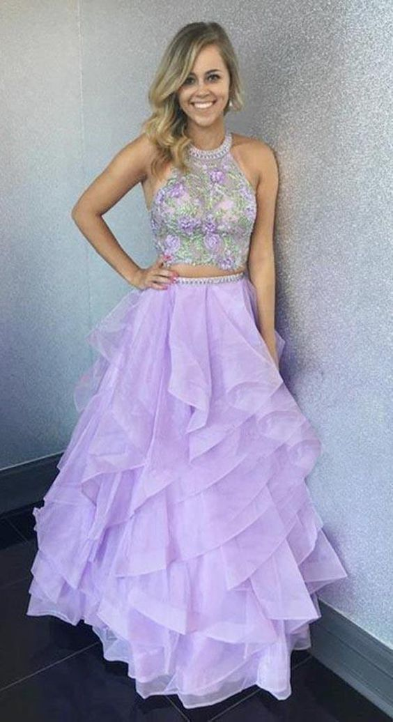 92590212ea5 Beautiful Charming Two Piece Halter Floor-Length Organza Prom Dress Evening