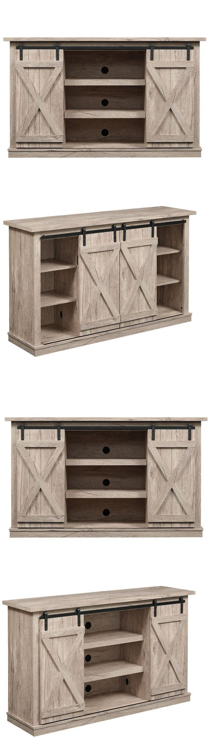 Wood swivel desk chair laquered finish warms amp padded seat ebay - Entertainment Units Tv Stands 20488 Rustic Tv Stand Console Up To 60 Barn Door Wood