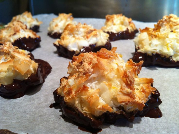 Coconut Macaroons with Lemon Zest Dipped in Dark Chocolate - gluten free, dairy free, soy free ...my new website lost this one so I'm repinning this yummy low calorie recipe...