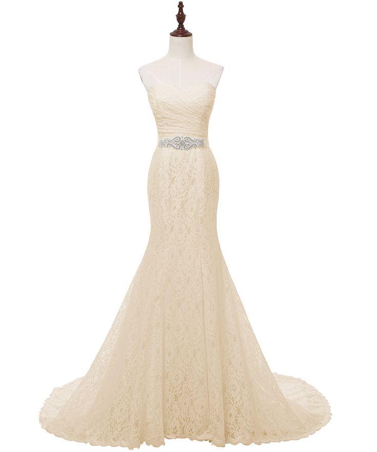 Vintage White Lace Charming Mermaid Wedding Dress - Uniqistic.com