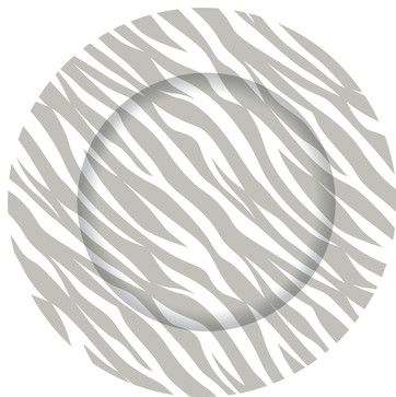 Grey Zebra Charger Plate contemporary chargers