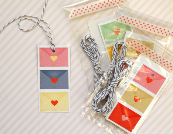 love note gift tags double sided multi color 5pak by magdalenarose