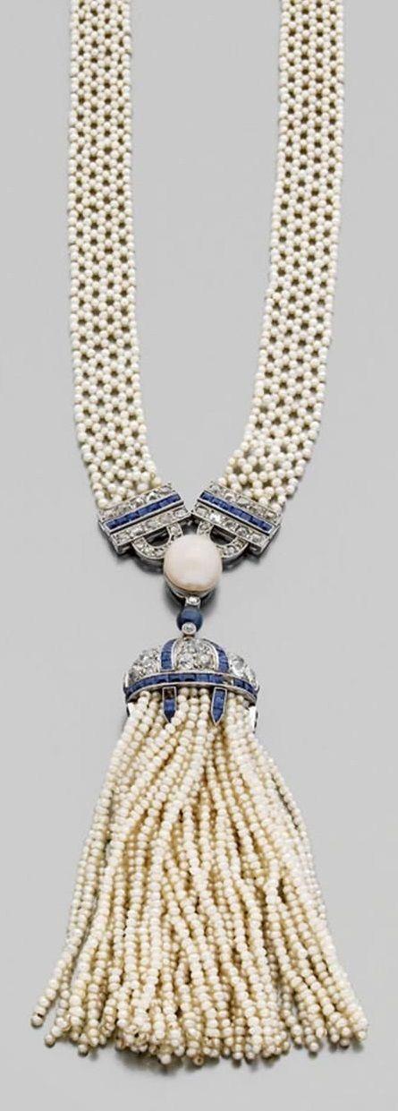 A Belle Époque platinum, diamond, sapphire and pearl sautoir, circa 1905. With a case by Chaumet.