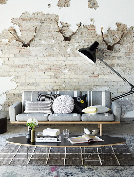 A Creative Mixture of Industrial, Rustic, & Modern Decor: Interior Design, Decor, Living Rooms, Idea, Brick Wall, Interiors, Livingroom, Exposed Brick, Space