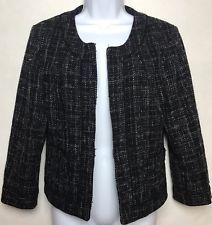 BANANA REPUBLIC Womens 10P Petites Blazer Jacket Navy Black Tweed Career Work