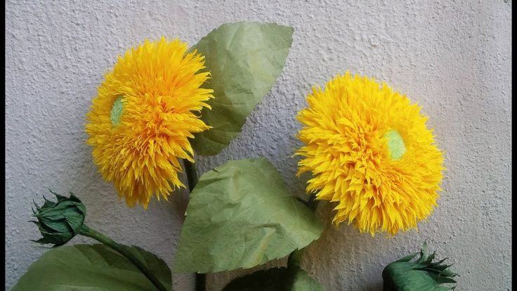 ABC TV | How To Make Sunflower Teddy Bear Paper Flowers From Crepe Paper...