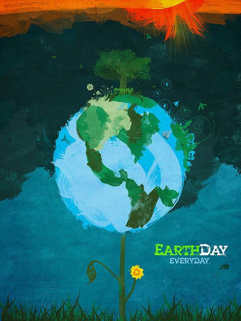 Earth day Poster; globe, sun, graphic, graphics, graphic design