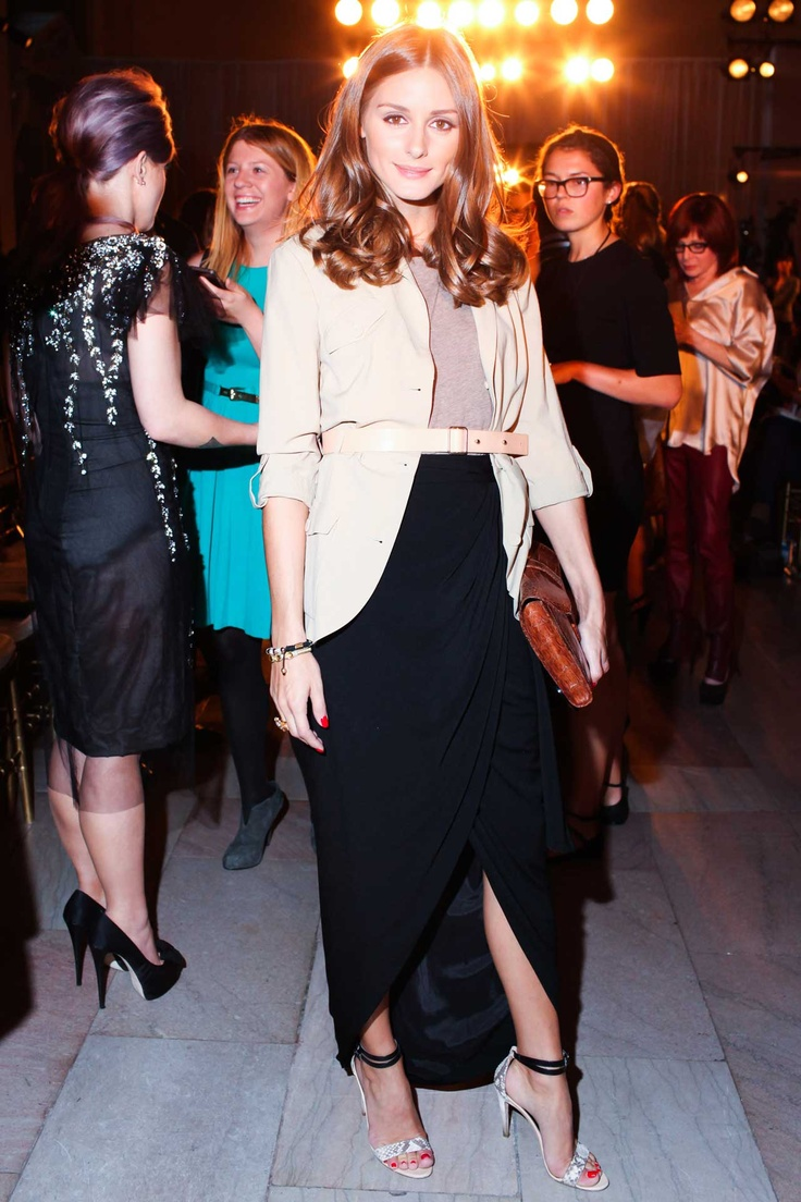 Olivia Palermo took in the spring Rachel Zoe collection in a cuffed blazer that she styled with a brown clutch, tulip hem maxiskirt and ankle-strap sandals. Spring 2013 Marchesa fashion show in NYC. September 15, 2012