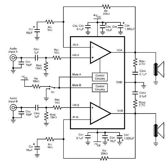 2 x 60 w audio amplifier circuit