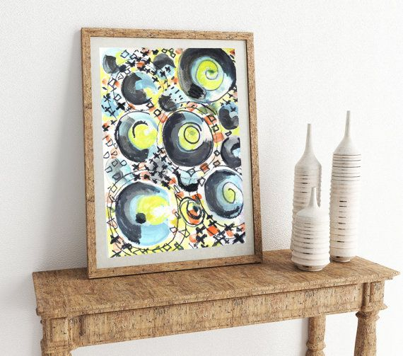 Black and Yellow Circles Abstract 30x 25 by LittleLotusFlowers