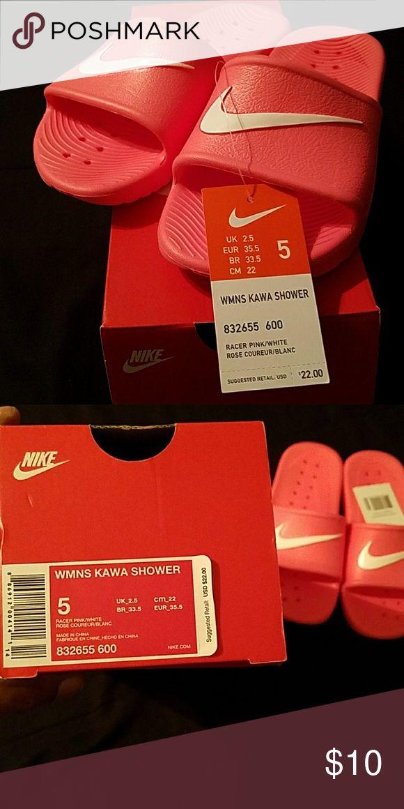 Wmns kawa nike shower slippers brand new womens size 5 (pink) nike shower slippers with tags and box Nike Shoes Slippers